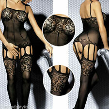 3 Color Sheer Floral Lace Bodice Garter Bodystocking Thigh High Open Stockings