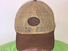 New Brown leather Christian fish logo straw baseball cap hat Jesus fish