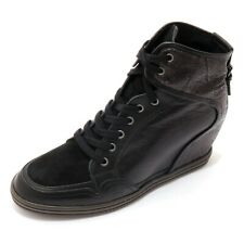 7962AC sneakers donna HOGAN REBEL black leather/suede shoes woman