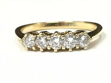 18k Yellow Gold Five Stone Round Diamond Band Anniversary Band Five Stone Ring