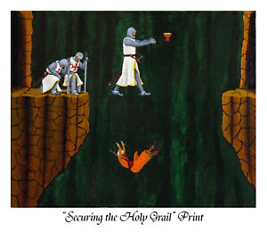 """""""Securing the Holy Grail"""", Print of oil painting by Robert Marquiss"""