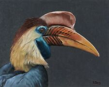 Fine Art Print of original oil painting Hornbill profile, wildlife bird 8X10''