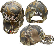 I am Life Can you See? Do you Believe? Jesus Christian Cap Hat Woodland Camo T3