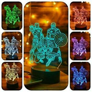 3D illusion LED Night Light Changing Colours USB Touch Sensor Lamp Hero Gift UK