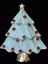 LIGHT GREEN GLITTER ENAMEL RED RHINESTONE FAT CHRISTMAS TREE PIN BROOCH JEWELRY