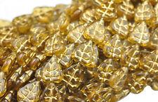 25 TOPAZ W GOLD INLAY CZECH GLASS LEAF BEADS 10MM