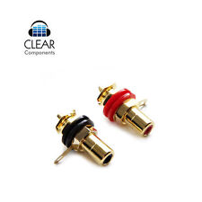 2x instalación cinch casquillos RCA Profi chasis Inlets 24k dorado enchufe-gama alta
