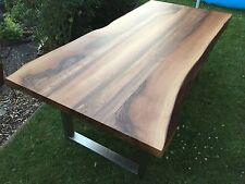 Nußbaum Esstisch Baumkante Edelstahl Platte 40mm voll massiv 200 x ca.90 -95 cm