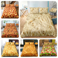 Funny Food Pizza Hamburger Chips Spaghetti Bedding Set Duvet Cover Pillowcase