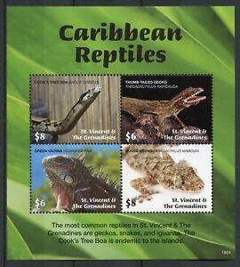 St Vincent & Grenadines 2018 MNH Caribbean Reptiles Geckos Snakes 4v M/S Stamps