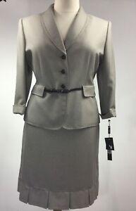 Tahari Women Suit 2 Pc Blazer Skirt Belt Button Front 3/4 Sleeve Career Size 18