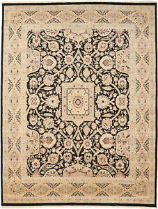 10X14 Hand-Knotted Lahore Carpet Oriental Black Fine Wool Area Rug D40540