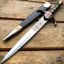 "15.5"" Dark Knight Celtic Cross Medieval Fixed Blade Crusader Sword Knife Dagger"