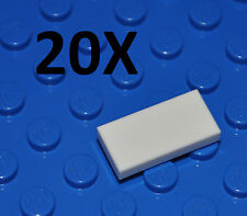 LEGO PARTS - 20X WHITE TILES 1X2 STUDS/FLAT BUILDING PIECES/SMOOTH PANELS/3069