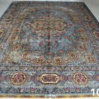 YILONG 10'x14' Handknotted Silk Carpet Antistatic Villa Luxurious Home Area Rug