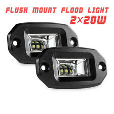 2x 20W Off-Road LED Work Light Bar Pods Flood Flush Mount Car Pickup Waterproof