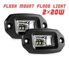 2x 20W Off-Road LED Work Light Bar Pods Flood Flush Mount Car Pickup Waterproof