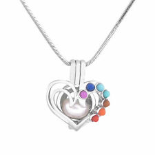 Beautiful Chakra Heart Silver Cage Pendant Akoya Oyster Pearl 20 Inches Chain