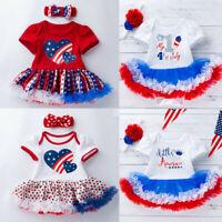 2PCS 0-24M Toddler Baby Girl Kids 4th Of July Short Sleeve Tutu Dress Outfit Set