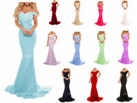 New Long Satin Lace Bridesmaid Prom Dress Wedding Evening Formal Party Ball Gown
