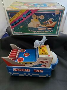 Vintage Universe Boat ME767 Battery Operated Tin Toy China Space with  box works