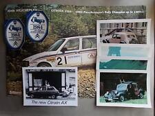 Citroen Memorabilia: Visa Rally Poster + AX Photo + 4 Postcards + 2 Stickers.