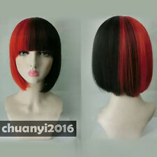 Cosplay Ladies Red Black Mix Bob Straight Natural Hair Women Wigs + free wig cap