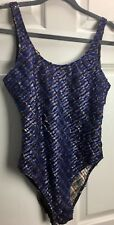 Oblo Sz 4 designer plaid Textured blue metallic gold Stretch One Piece Swimsuit