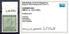 SBZ West-Sachsen 1945 Mi.116CY Oberrand postfrisch geprüft Kurzbefund Schulz BPP