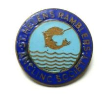 Vintage St Helens Ramblers Angling Society fishing club Pin badge - Fishing