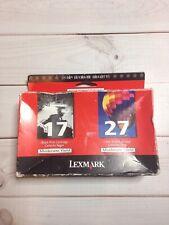 2pk GENUINE Lexmark 17/27 Black and Color Ink Cartridges (10N0595) NEW SEALED!!!