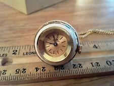 """VINTAGE BUCHERER """"BALL"""" LADIES PENDANT WATCH w/ CHAIN enameled White with chain"""