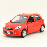 1:36 Nissan March Model Car Metal Diecast Gift Toy Vehicle Red Kids Doors Open