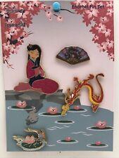 Disney Princess Loungefly 4 Pin Set - Mulan Mushu Cri-Kee & Fan Glitter Pins