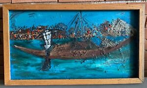 Vintage 60s Nautical Seascape Boat Textured Oil Painting Mid Century Modern Art