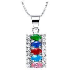 925 Sterling Silver Purple Amethyst Color Women's Crystal CZ Pendant Necklace