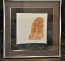 Juan Quevedo 1952-  Signed Limited Edition Etching Indian Chief - Calif. Artist