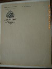 Papier à en-tête loge La Fraternité Charleville Mezieres 1940 Franc-Maçonnerie