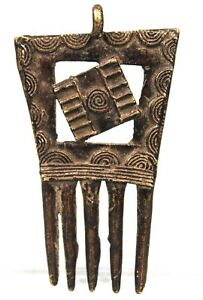 Art Africain Tribal - Pendentif Peigne en Bronze Akan - Baule Comb - 8,2 Cms