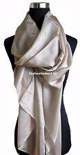 New Large Luxurious Silk Scarf Shawl Wrap, Beige
