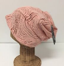 Women's 2in1 Open Back Knit Beanie Headwrap-Band Skull Ski Hat Cap Scarf, Peach