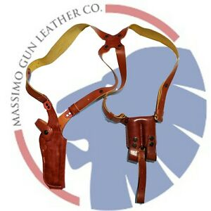 MASSIMO_COLT 1911 Leather Vertical Shoulder Holster with Dual Magazine Pouch