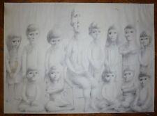 Looby Keith Dessin à la mine de plomb signée 1962 la maitresse et les élèves T