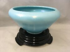 Vintage Metallic Blue Decorative  Glass Bowl Flower Vase w Stand Asian Style Art