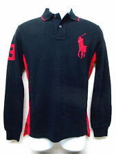 POLO RALPH LAUREN -Big Pony -Men's Long Sleeve Polo Shirt - Black & Red - Size L