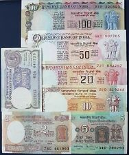 Rare Old India Currency Set of 7 different Notes UNC ~AUNC ~ 100,50,20,10,5,2,1