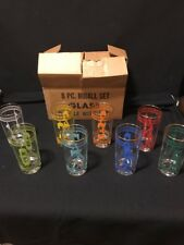 New listing Vintage Eight Piece High Ball Set Different Colored Numbered Glasses New In Box