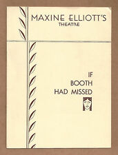 "Arthur Goodman ""IF BOOTH HAD MISSED"" Abraham Lincoln 1932 Broadway FLOP Playbill"