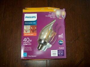 3 Philips Candelabra E12 LED Candle Filament Daylight 40W 40 Watt Light Bulb