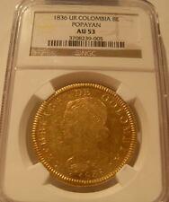 Colombia 1836 UR Gold 8 Escudos NGC AU-53 Popayan